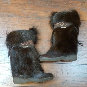 Tecnica tall fur boots heart embroidery size 38